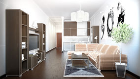3D interior rendering of a small loft Royalty Free Stock Photos