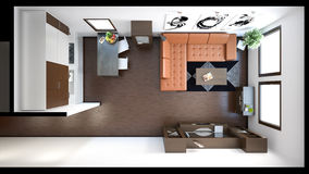3D interior rendering of a small loft Stock Photography