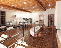 3D Interior rendering of a tiny loft Royalty Free Stock Photography