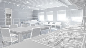 3D Interior rendering of a tiny loft Royalty Free Stock Image