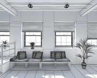 3D Interior rendering of a tiny loft Royalty Free Stock Images