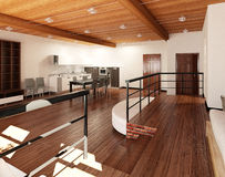 3D Interior rendering of a tiny loft Stock Image