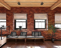 3D Interior rendering of a tiny loft Royalty Free Stock Photo