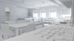 3D Interior rendering of a tiny loft Stock Photo