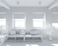 3D Interior rendering of a tiny loft Royalty Free Stock Photos
