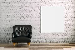 3d interior room with armchair and blank poster. 3d contemporary interior room with armchair and blank poster - minimalist setting Royalty Free Stock Image
