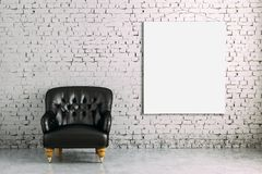 3d interior room with armchair and blank poster. Minimalist setting Stock Image