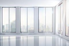 3d interior room with big windows. 3d clean interior room with big windows Stock Photos