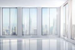3d interior room with big windows. 3d clean interior room with big windows Stock Photo