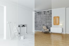3d interior room decoration process. Concept Stock Photography