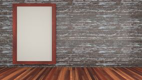3d interior room design include a plank floor mahogany and wood plank wall with wood frame. 3d interior room design include a wood plank floor mahogany and wood Royalty Free Stock Photos