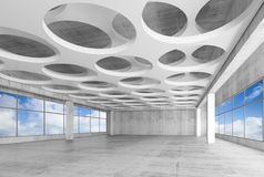 3d interior with round holes on ceiling Stock Image