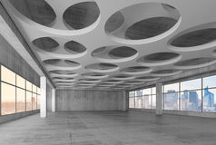 3d interior with round holes pattern in ceiling. Empty modern interior background with round holes pattern in ceiling, 3d illustration with blurred photo Stock Images