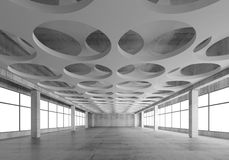 3d interior with round pattern in ceiling. Empty concrete interior background with round holes pattern on white ceiling constructions, 3d illustration, frontal Royalty Free Stock Images