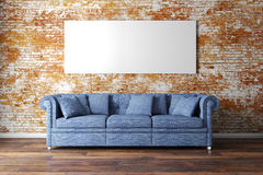 3d interior setup with couch and blank poster. 3d interior setup with blue couch and blank poster stock illustration