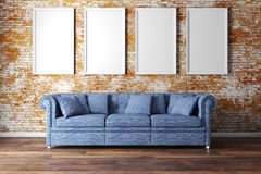 3d interior setup with couch and blank poster Royalty Free Stock Image