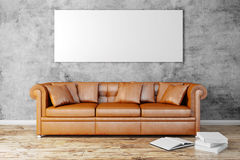 3d interior setup with couch and blank poster Stock Photography