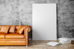3d interior setup with couch and blank poster. 3d interior setup with leather couch and blank poster vector illustration