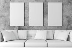 3d interior setup with couch and blank poster royalty free illustration
