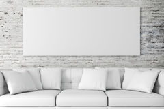 3d interior setup with couch and blank poster Royalty Free Stock Images