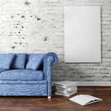 3d interior setup with couch and blank poster Royalty Free Stock Photo