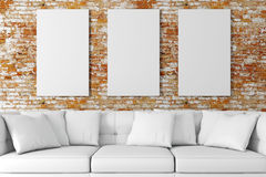 3d interior setup with couch and blank poster. 3d modern interior setup with couch and blank poster stock illustration