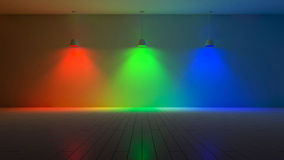 3d interior-spectrum color. 3D renderuing image of 3 hanging lamps which use different bulbs. RGB spectrum color on the cracked concrete wall and wooden floor Royalty Free Stock Images