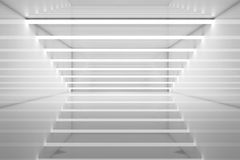 3d interior stripes of neon lights and reflections. White room interior stripes of neon lights and reflections. Futuristic architecture background. 3d render Stock Images