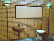 3d interior of the toilet in a loft style Stock Photos