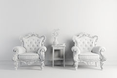 3d interior with vintage arm chair. 3d vintage arm chair interior render Royalty Free Stock Photos