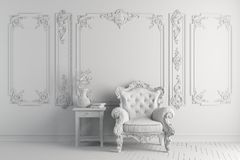 3d interior with vintage arm chair Stock Images