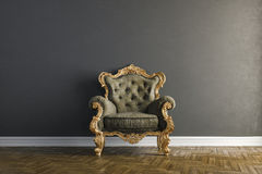3d interior with vintage arm chair. 3d vintage arm chair interior render Royalty Free Stock Photography