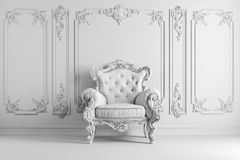 3d interior with vintage arm chair. 3d vintage arm chair interior render Stock Images