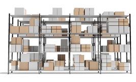 3d interior warehouse with rows of shelves and boxes Royalty Free Stock Images