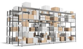 3d interior warehouse with rows of shelves and boxes Stock Image
