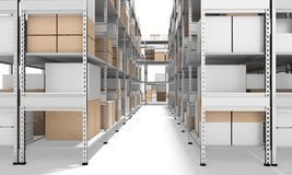 3d interior warehouse with rows of shelves and boxes Stock Photo