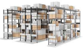 3d interior warehouse with rows of shelves and boxes Stock Photography