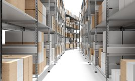 3d interior warehouse with rows of shelves and boxes Stock Photos