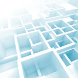 3d interior with white and blue chaotic square cells Stock Image