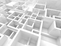 3d interior with white chaotic square cells structure. Abstract empty 3d interior fragment with white chaotic square cells structure royalty free illustration