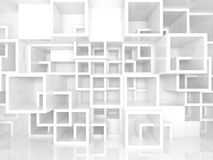 3d interior with white chaotic square cells structure. Abstract empty 3d interior fragment with white chaotic square cells structure on the wall Royalty Free Stock Photos