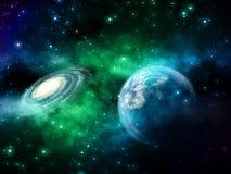 3D interliniują tło z powieściowymi planetami i mgławicą ilustracja wektor