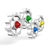3D interlocking gears. Series of 3D interlocking gears or cogwheels with colored hubs royalty free illustration