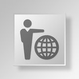 3D International Acclaim Button Icon Concept Stock Images
