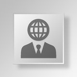 3D International business Button Icon Concept. 3D Symbol Gray Square International business Button Icon Concept Royalty Free Stock Photos