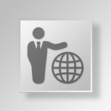 3D International business Button Icon Concept. 3D Symbol Gray Square International business Button Icon Concept Stock Image