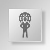3D International business Button Icon Concept. 3D Symbol Gray Square International business Button Icon Concept Royalty Free Stock Photo
