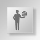 3D International business Button Icon Concept. 3D Symbol Gray Square International business Button Icon Concept Royalty Free Stock Images