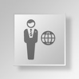 3D International business Button Icon Concept. 3D Symbol Gray Square International business Button Icon Concept Royalty Free Stock Photography