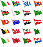 3D International Flags Set 2. A set composed by the flags of 20 of the most important countries around the world Stock Image